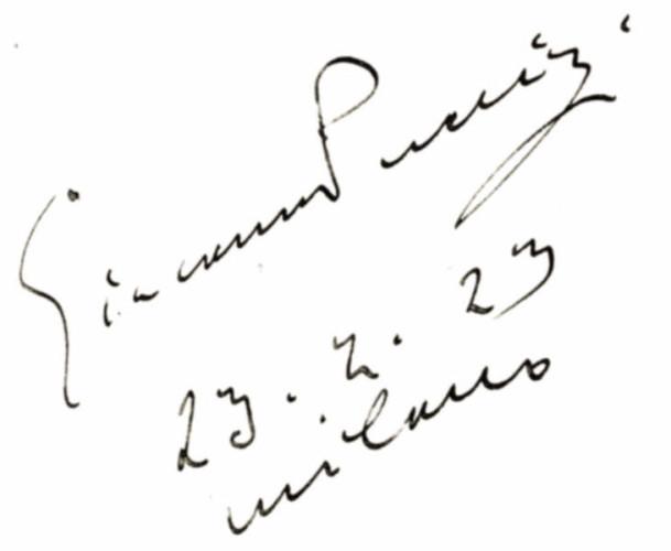 autografo di Puccini