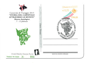 2015 n. 1a Storia del Carnevale attraverso le riviste - retro sovrastampa Burlamacco Verde